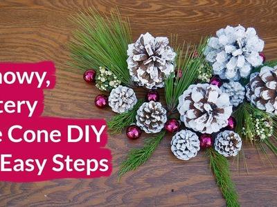 Snowy, Glittery Pinecones In 3 Easy Steps