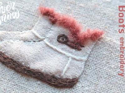 [프랑스 자수] 장화 자수 boots hand embroidery. 아플리케 자수 appliqué. winter tutorial