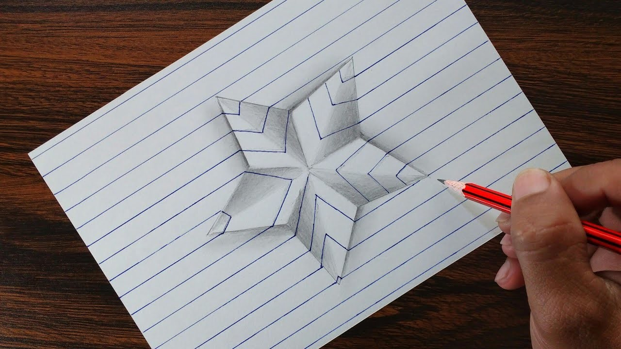 Very Easy 3d Star On Line Paper Trick Art Drawing