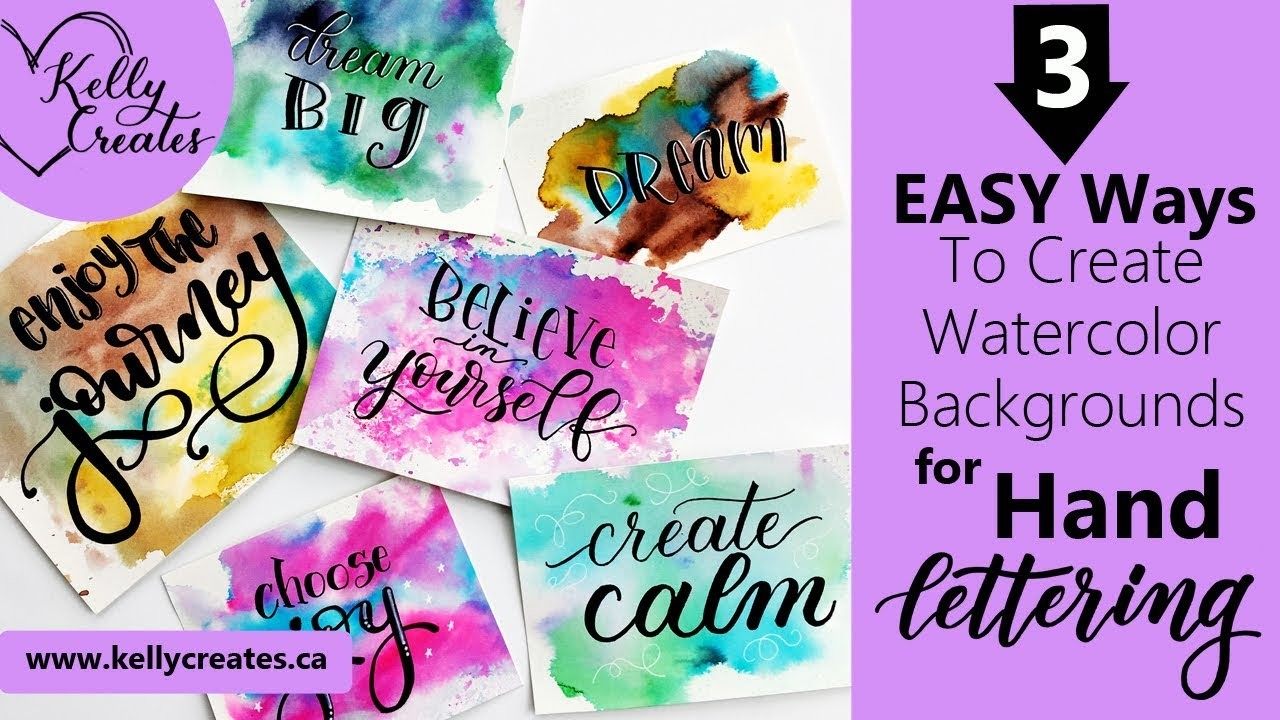 3 Easy Watercolor Backgrounds for Hand Lettering & More