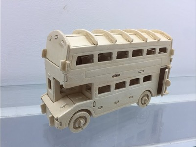 3D Woodcraft Construction Kit DIY, How to Assembly the 3D Wooden Puzzle Doubled Decker Bus