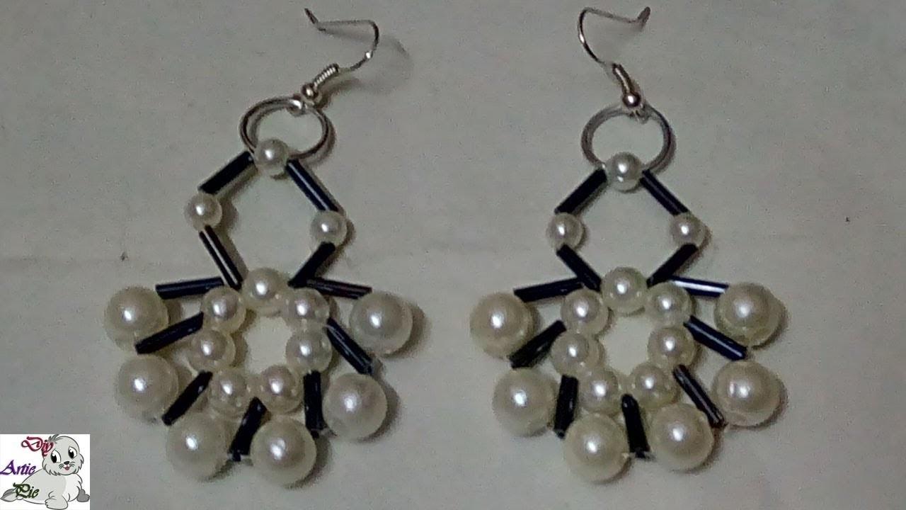 #87 How to Make Pearl Beaded Bugle Earring    Diy    Jewellery Making