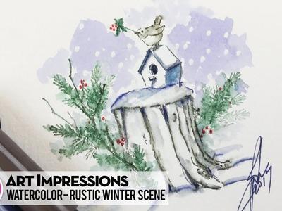 Ai Watercolor - Rustic Winter Scene