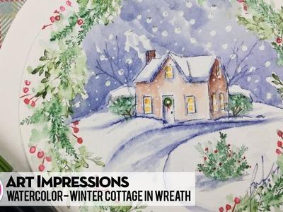 Ai Watercolor - Winter Cottage in Wreath