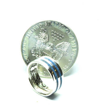 Blue Sodalite gemstone jewelry ring, .999 fine silver coin rings