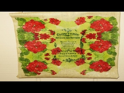 Burlap Fabric Decoupage a wall hanging with Napkins!