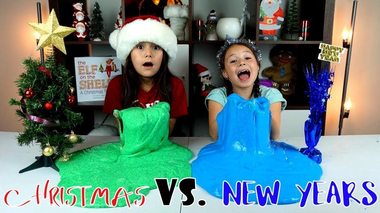 CHRISTMAS SLIME VS NEW YEARS SLIME - 1 GALLON OF SLIME