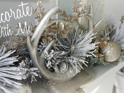 DECORATE FOR CHRISTMAS WITH ME 2017 I RUSTIC GLAM I Tree, Staircase & Fireplace Mantel