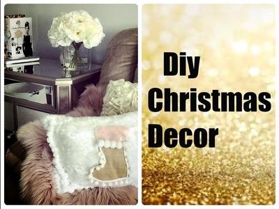 GLAM CHRISTMAS HOME DECOR -DIY FUR SNOWMAN AND CUSHION