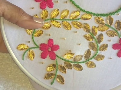 Hand embroidery. Gottapatti work neck design for dresses and blouses.