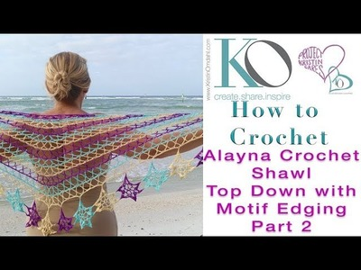 How to Crochet Alayna Shawl from Motif Magic Part 2 of 4 Top Down Shawl with X stitches