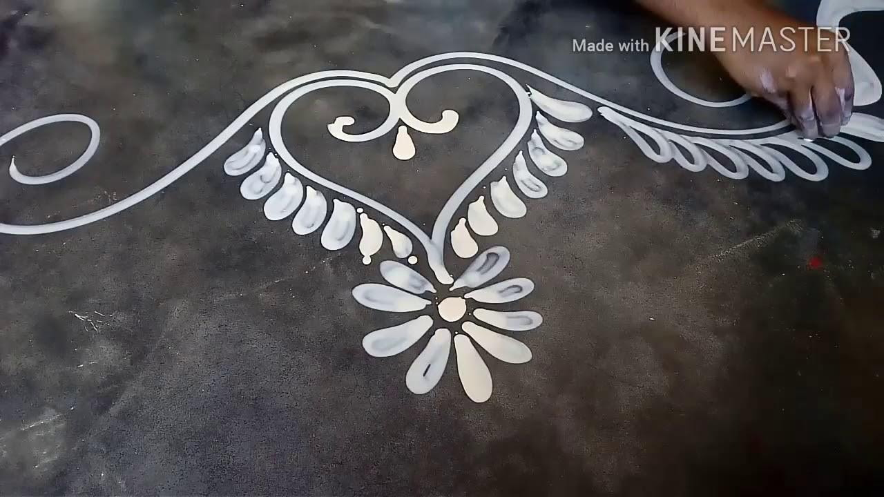 How to draw a beautiful door alpona design. mukesh arts