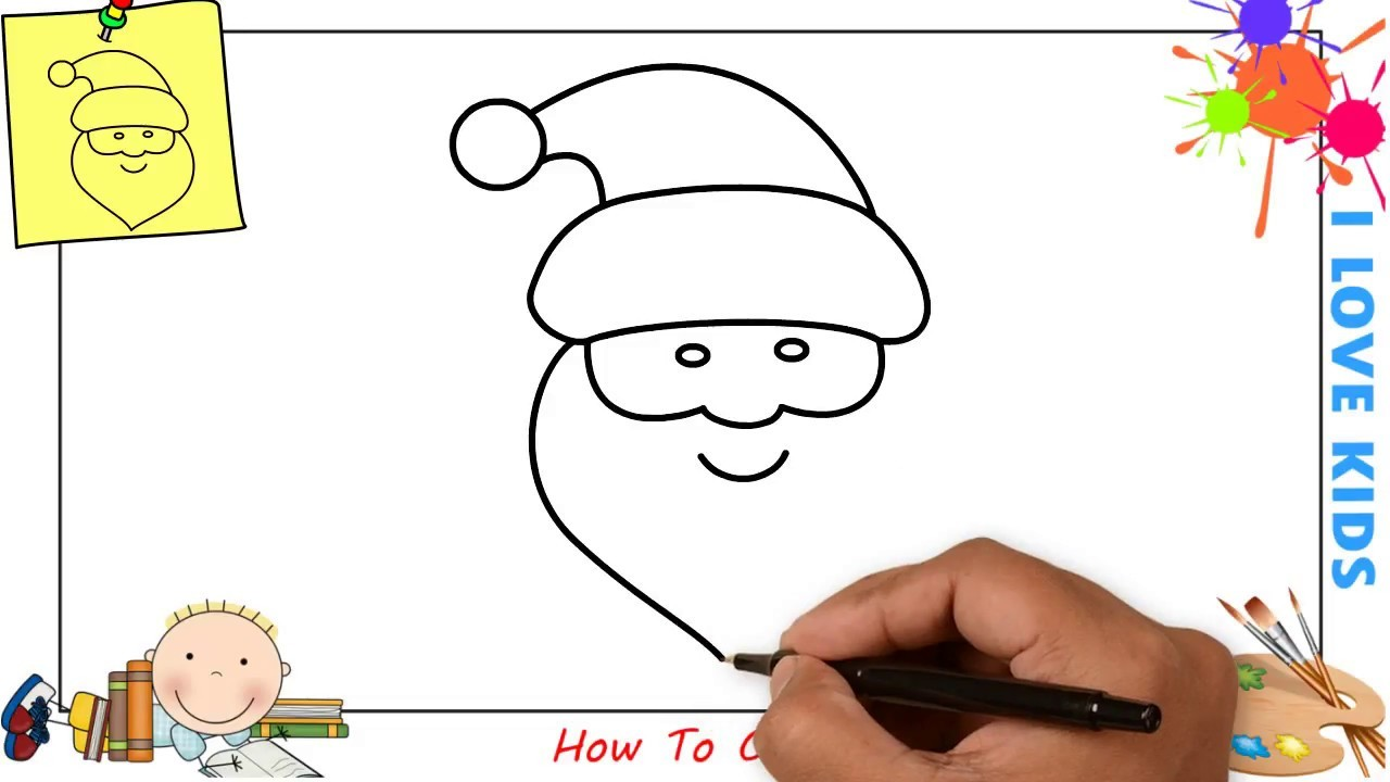 How To Draw A Santa Claus Christmas Easy Step By Step For Kids