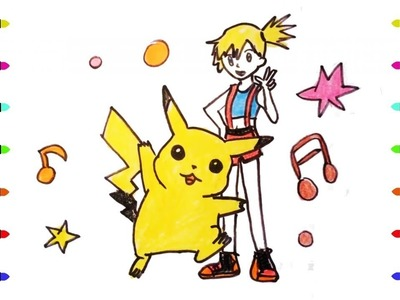 How to Draw Pikachu and Kasumi step by step - learn colors for children (pokemon)