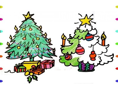 How to draw the Christmas Tree | Coloring Pages for Kids Learn Colors | Christmas Songs