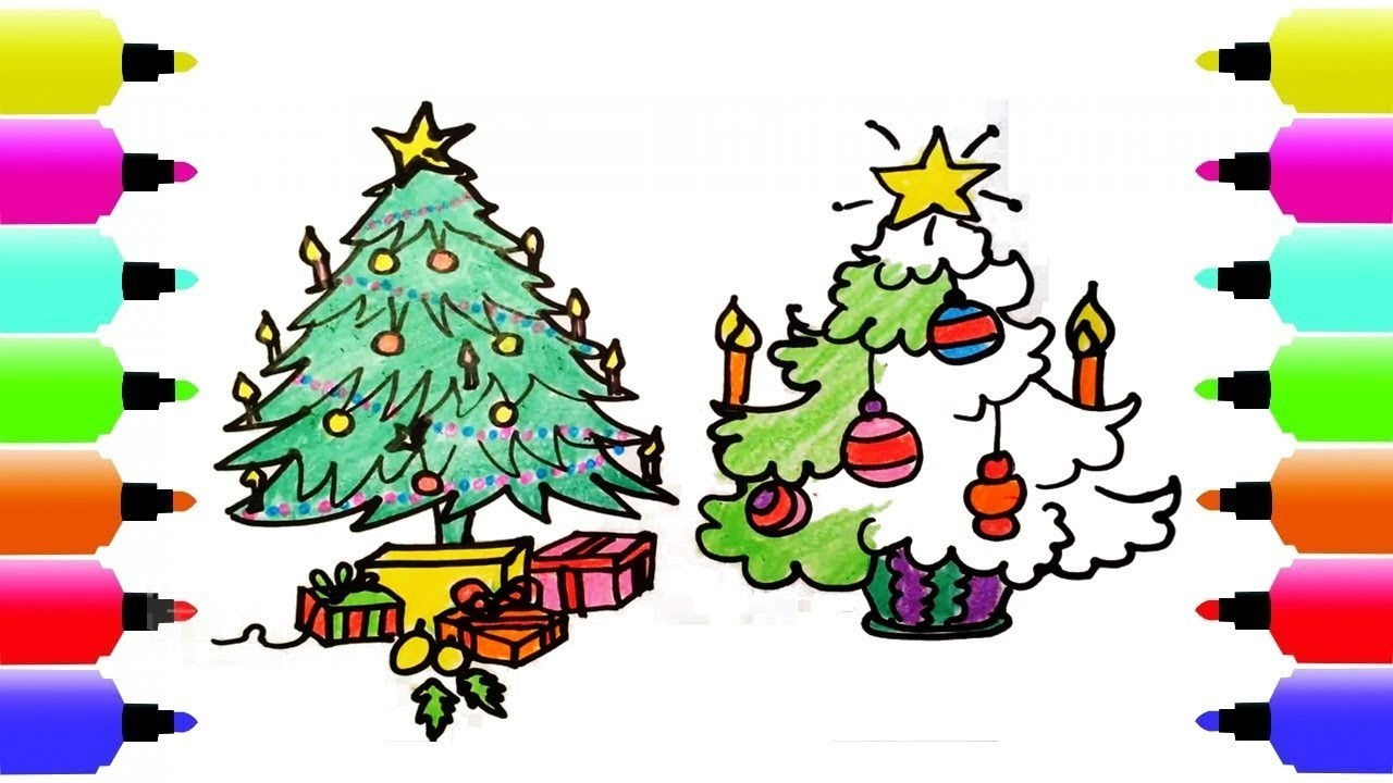 How to draw the Christmas Tree, Coloring Pages for Kids Learn Colors ...