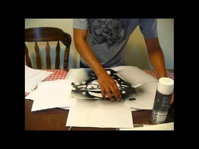 Juvenal Hernandez, Expert Village - How to spray paint a stencil onto a shirt.