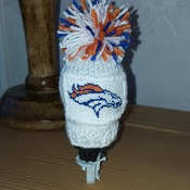 knitted gear knob gear shift hat with hand stitched patch with broncos design