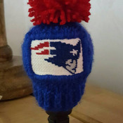 knitted gear knob gear shift hat with hand stitched cardinals patch