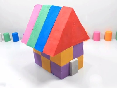 Learn colors kinetic sand how to make rainbow house DIY