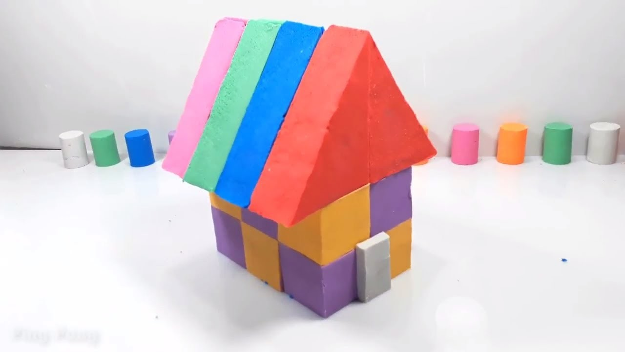 f3b11be825b Learn colors kinetic sand how to make rainbow house DIY