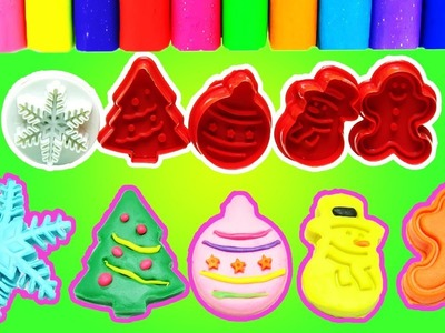 Learn Colors Play Doh Christmas Molds | DIY Playdoh Christmas Tree Snowman & Nursery Rhyme for Kids