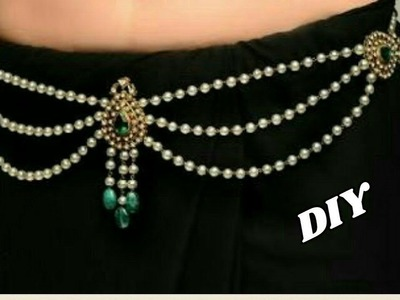Pearl waist chain - Making with pearl beads | 2 in 1 long haram | jewellery tutorials