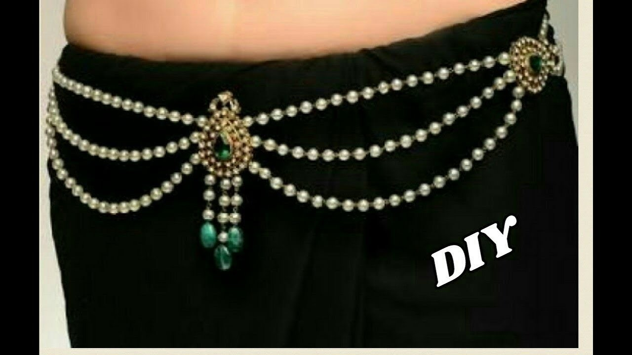 Pearl waist chain - Making with pearl beads   2 in 1 long haram   jewellery tutorials