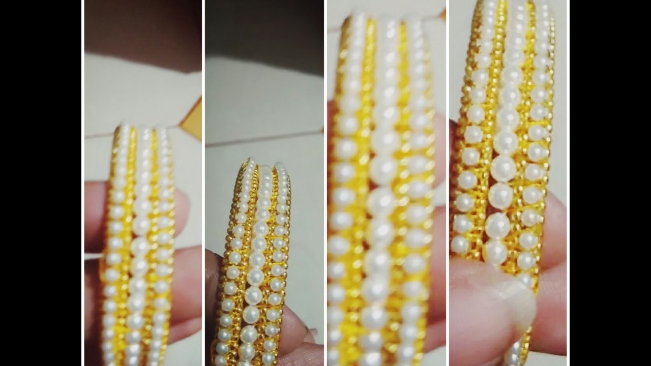 Pretty pearl bangles making with pearls and silk thread