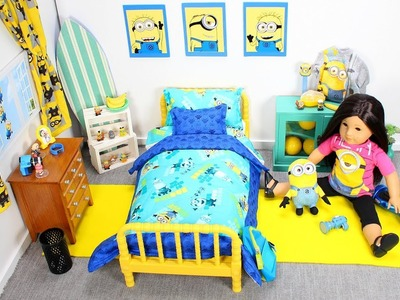 Baby Doll Minions Bedroom with Despicable Me 3 Blind Bags & American Girl doll play