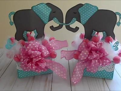 Baby Girl Elephant Shower Centerpiece