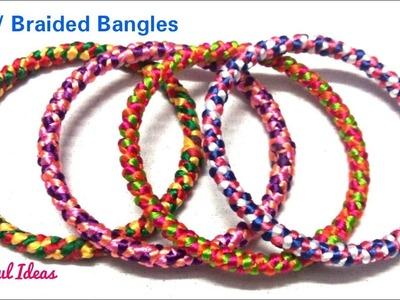 Braided Bangles.How to Make Silk thread Fancy Bangles.Silk thread  Designer Braided Bangles at Home