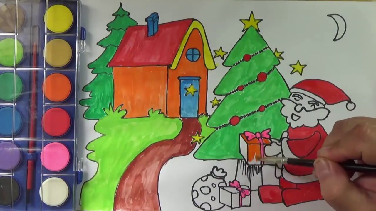 Coloring Santa Claus's House, Pine Tree, presents, and Teach Draw for Kids