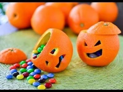 DIY Halloween :  How To Make A Fruit Orange Pumpkin Candy Cup