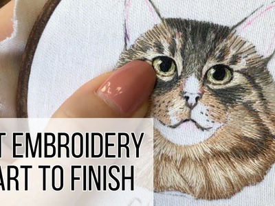 Full Embroidery from Start to Finish. Cat Embroidery - Stitching Sabbatical