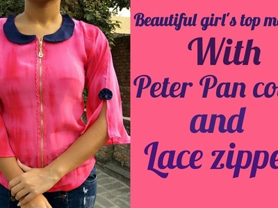 Girls top cutting and Stiching with lace zipper