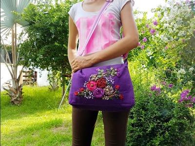 Handbag with Ribbon Embroidery Tutorial Part 5