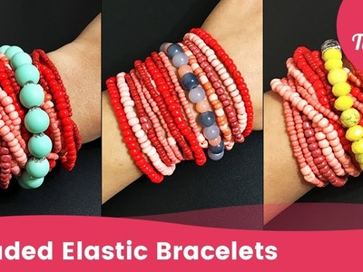 How to Easily Make a Beaded Elastic Bracelet. Stretch Bracelet in Minutes