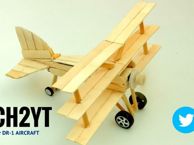 How to Make airplane at home #2 - Use Popsicle Stick or DC Moter (Fokker DR-1)