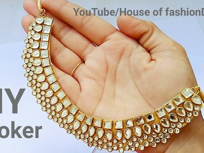 How To Make Designer Kundan Choker At Home||Latest Jewellery||Party ware Necklace. !