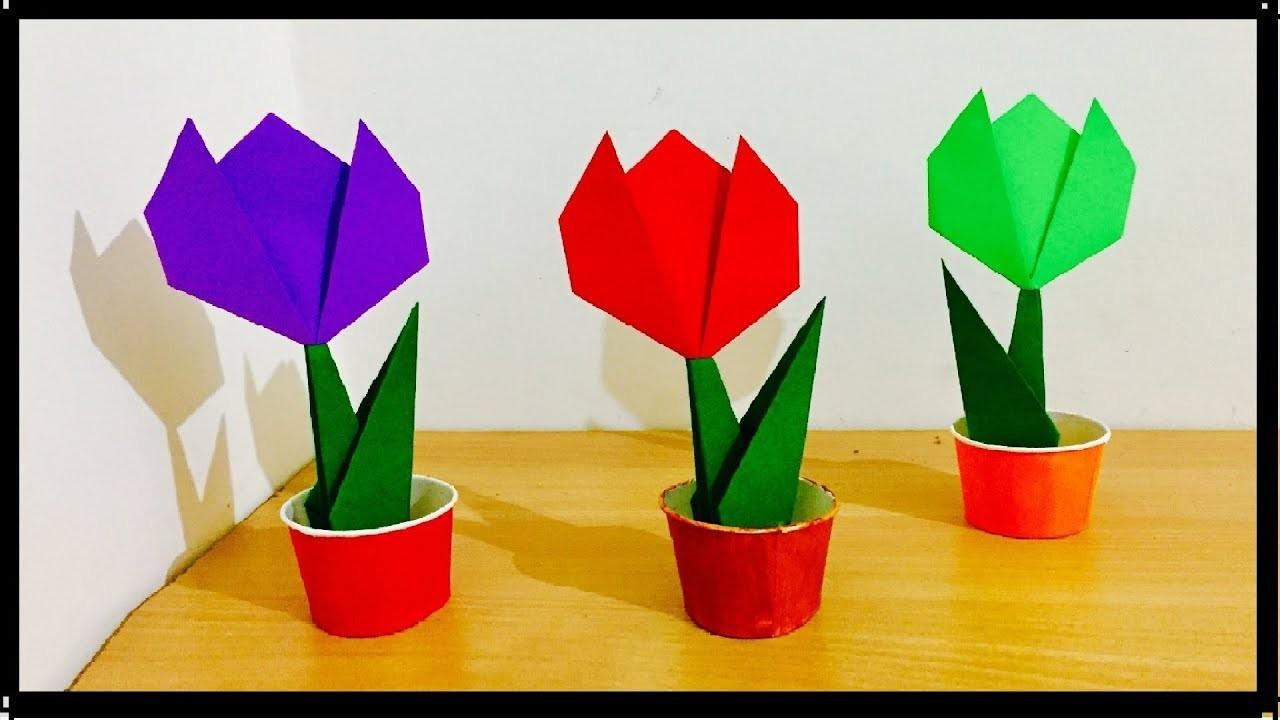 How to make origami paper tulip flowers flower bouquet for home how to make origami paper tulip flowers flower bouquet for home decoration easy kids craft izmirmasajfo
