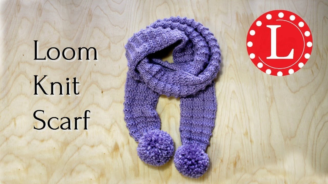 Loom Knit Scarf On Round Loom Waffle Stitch Pom Pom Scarf Loomahat