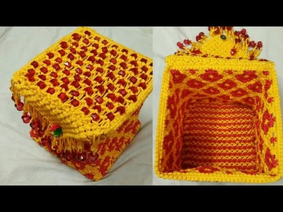 Macrame basket or box part 2 lid making and attaching