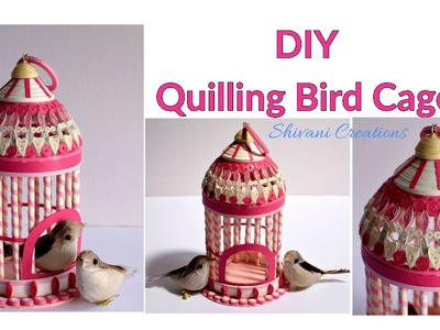 Paper Quilling Bird Cage. How to make Quilled Bird House