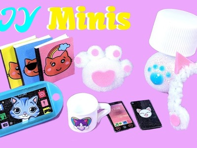 7 DIY  Kitty Cat Miniatures - Lamp, Cell Phone, Tablet, Ear Muffs, Pillow, Mug, & Books
