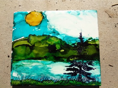 Alcohol Ink: How To Make Mountain and Lake Scenery