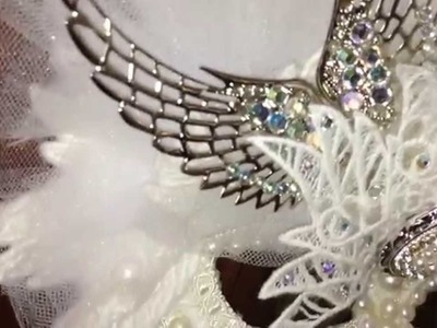Angelica Embroidered Angel Wing Mask for Mardi Gras, Parties, Masquerades and More