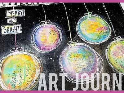 Art Journal Ornaments with Neocolor II, Posca Paint Pens, Acrylic Paint, and Foil | Mixed Media