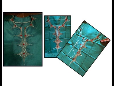 Beads Kundans neck design Churidar.Kurti making at home -Simple & EASY | Aari.maggam hand Embroidery