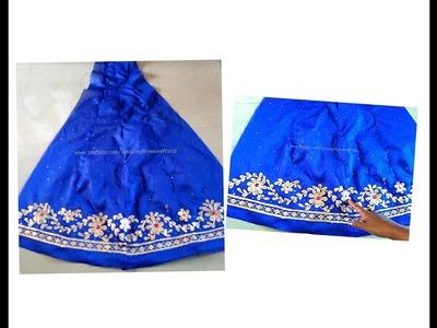 Designing Lehenga. Ghagara | Gotta Patti Style | Gold Painting making at home